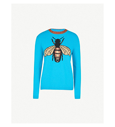 GUCCI Bee-embroidered wool jumper (Blue
