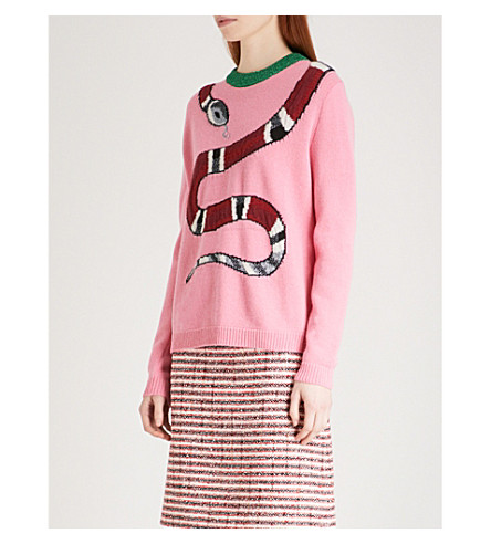 GUCCI Snake-embroidered metallic wool jumper (Pink