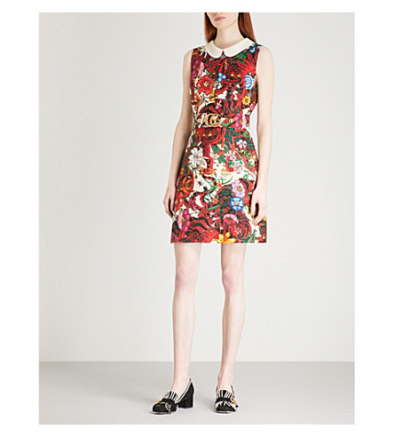 GUCCI Floral-print sleeveless wool and silk-blend mini dress (Flower+prnt