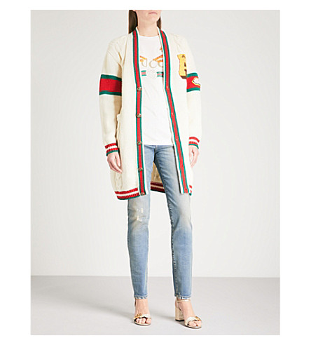 GUCCI Longline knitted wool cardigan (White