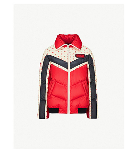 GUCCI Floral-print padded shell jacket (Red/blue/white