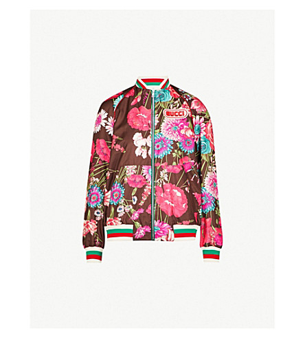 GUCCI Reversible floral-print silk-twill bomber jacket (Pink/multi