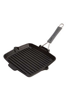 STAUB Square cast iron grill with silicone handle 24cm