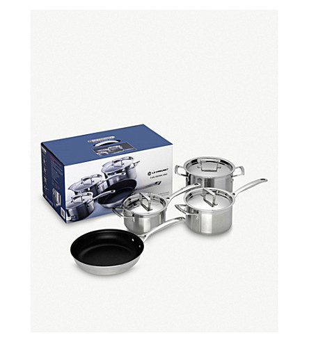 le creuset 3 ply stainless steel four piece saucepan set. Black Bedroom Furniture Sets. Home Design Ideas