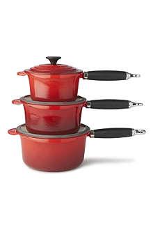 LE CREUSET Cast iron saucepan set three-piece