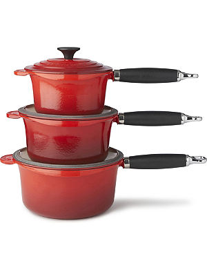 LE CREUSET Cast iron saucepan set three-piece