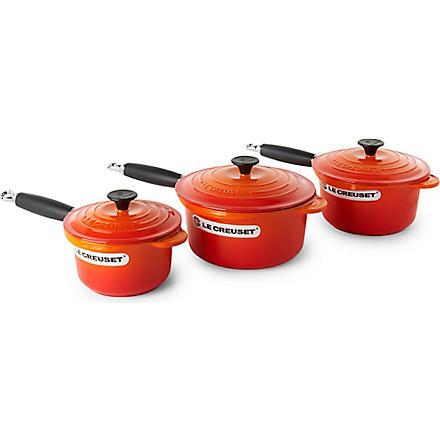LE CREUSET Cast iron saucepan set three-piece (Volcanic