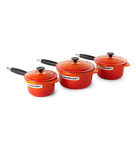 LE CREUSET Cast iron saucepan set three-piece (Volcanic