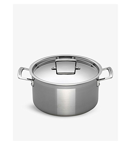 le creuset 3 ply stainless steel deep casserole dish 24cm. Black Bedroom Furniture Sets. Home Design Ideas