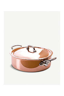 MAUVIEL M'héritage copper and stainless steel rondeau with lid 24cm