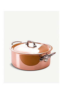 MAUVIEL M'héritage copper and stainless steel stewpan with lid 24cm