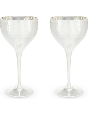 CULINARY CONCEPTS Hammered metal pair of goblets