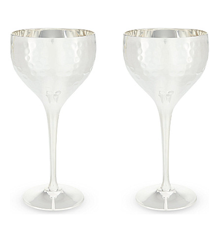 CULINARY CONCEPTS Hammered silver-plated wine goblets