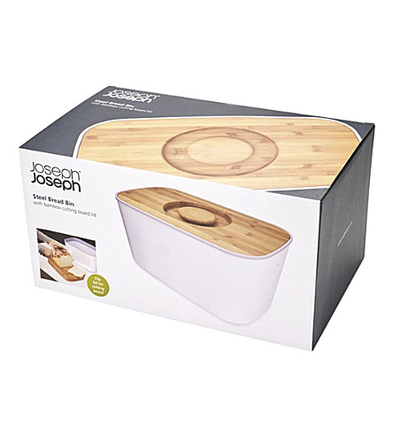JOSEPH JOSEPH Steel and bamboo bread bin