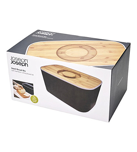 JOSEPH JOSEPH Steel and bamboo bread bin