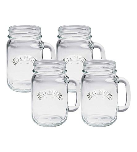 KILNER Set of 4 handled jars 400ml