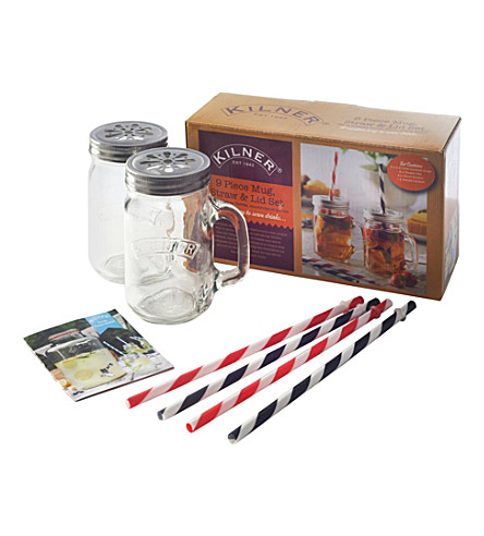 KILNER 9-piece mug and straw set