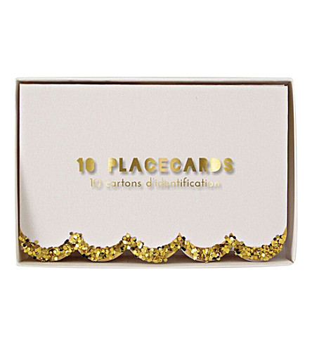 MERI MERI Scalloped glitter placecards pack of 10