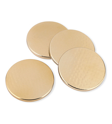 JUST SLATE Circular gold coasters