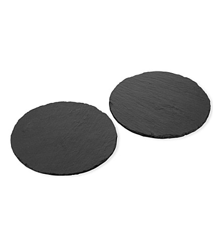 JUST SLATE Circular slate place mats set of 2