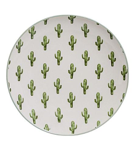 BLOOMINGVILLE Jade cactus round plate