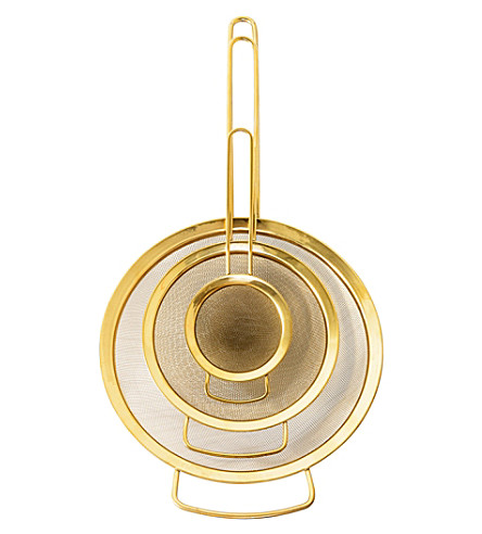 BLOOMINGVILLE Set of three gold-toned stainless steel strainers