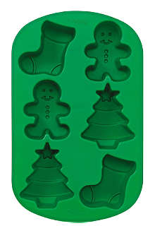 WILTON Mini Stocking, Gingerbread Boy & Christmas Tree silicone mold