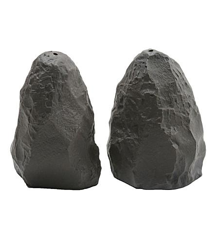 MAX LAMB Black basalt ceramic salt & pepper shakers
