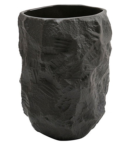 MAX LAMB Black basalt ceramic tall vase