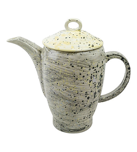MARTYN THOMPSON Grey Splatter hand-glazed bona china tea set