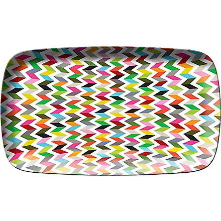 FRENCH BULL Zig-zag print rectangle platter 135 x 8cm