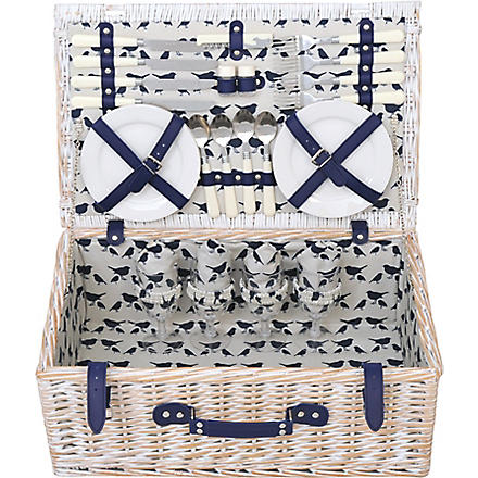 ANORAK Kissing Robins picnic hamper for four