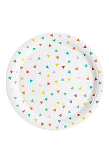 8 multicoloured triangle paper plates