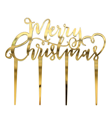 GINGER RAY Ginger Ray cake topper – Merry Xmas in Gold