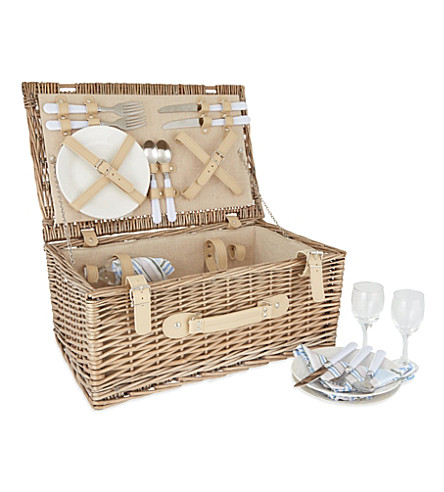WILLOW Antique four-person picnic hamper