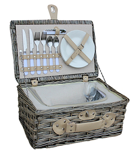 WILLOW Chilled wicker 2-person picnic basket