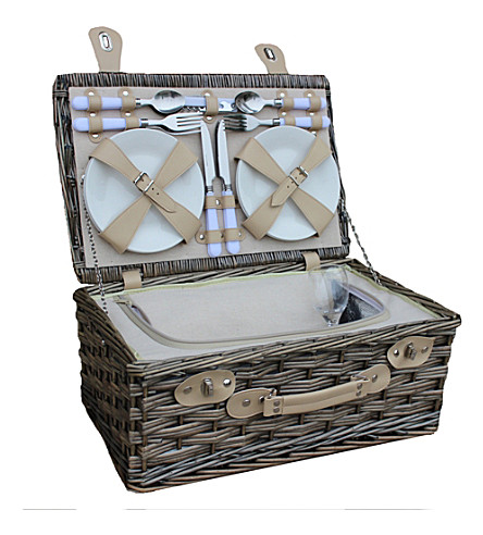 WILLOW Chilled wicker 4-person picnic basket
