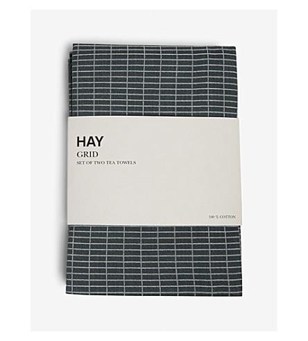 HAY Grid tea towels set of two