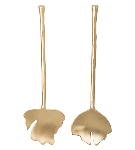 URBAN NATURE CULTURE Cutlery leaves brass salad servers set of two