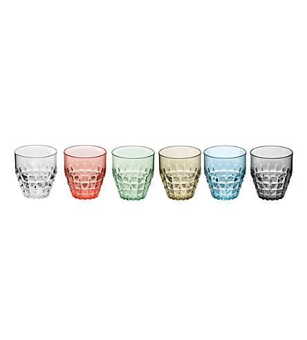GUZZINI Set of 6 Tiffany low plastic tumblers 350ml (Multicoloured