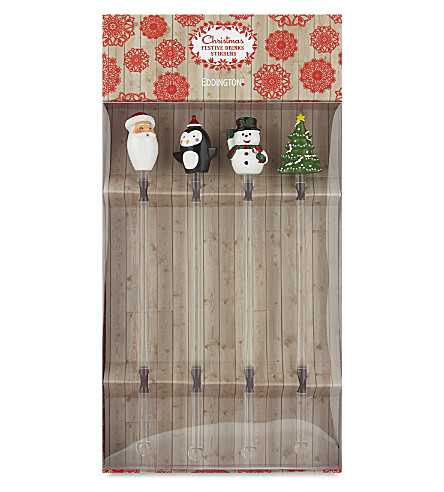 EDDINGTONS Christmas drinks stirrers set of four