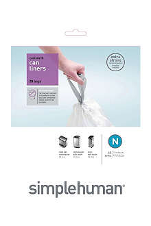 SIMPLEHUMAN Custom fit pack of 20 bin liners 45L code N