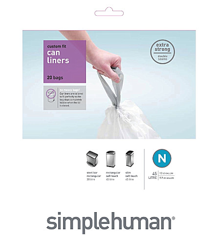 SIMPLE HUMAN Custom fit pack of 20 bin liners 45L code N