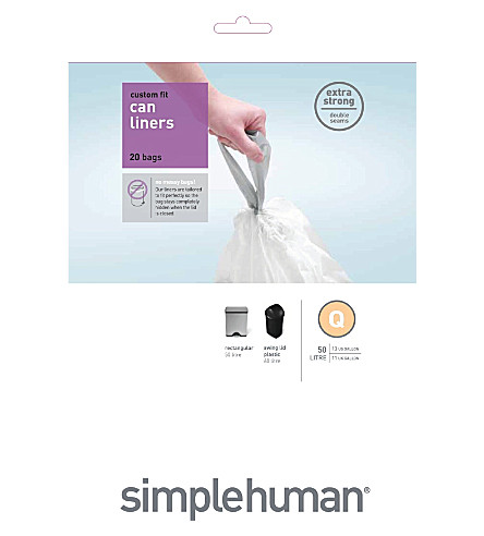 SIMPLE HUMAN Custom fit pack of 20 bin liners 50L code Q