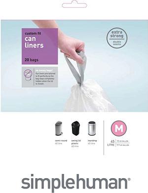 SIMPLE HUMAN Custom fit pack of 20 bin liners 45L code M