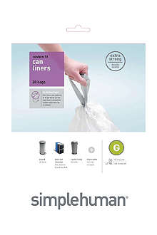 SIMPLEHUMAN Custom fit pack of 20 bin liners 30L code G