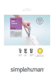 SIMPLEHUMAN Custom fit pack of 24 bin liners 20L code E