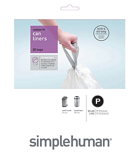 SIMPLE HUMAN Custom fit pack of 20 bin liners 50-60L code P