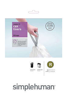 SIMPLE HUMAN Custom fit pack of 20 bin liners 10L code R