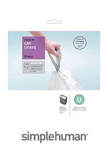 SIMPLEHUMAN Custom fit pack of 20 bin liners 55L code U